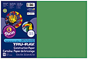 """Tru-Ray® Construction Paper, 50% Recycled, 12"""" x 18"""", Holiday Green, Pack Of 50"""