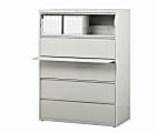 """WorkPro® 42""""W Lateral 5-Drawer File Cabinet, Metal, Light Gray"""