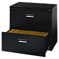 """Lorell® 30""""W Lateral 2-Drawer Letter-Size File Cabinet, Metal, Black"""