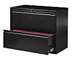 "WorkPro® 36""W Lateral 2-Drawer File Cabinet, Metal, Black"