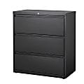 "WorkPro® 36""D Lateral 3-Drawer File Cabinet, Metal, Black"