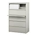 """WorkPro® 36""""W Lateral 5-Drawer File Cabinet, Metal, Light Gray"""
