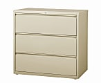 """WorkPro® 42""""W Lateral 3-Drawer File Cabinet, Metal, Putty"""