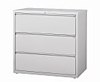 """WorkPro® 42""""W Lateral 3-Drawer File Cabinet, Metal, Light Gray"""