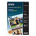 "Epson® Presentation Paper, Matte, Ledger Size (11"" x 17""), 27 Lb, Pack Of 100 Sheets, # S041070"