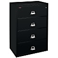 """FireKing® UL 1-Hour 37-1/2""""W Lateral 4-Drawer File Cabinet, Metal, Black, White Glove Delivery"""