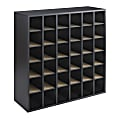 """Safco® Wood Mail Sorter, 36 Compartments, 32 3/4""""H x 33 3/4""""W x 12""""D, Black"""