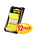 """Post-it® Flags, 1"""" x 1 -11/16"""", Yellow, 50 Flags Per Pad, Pack Of 12 Pads"""