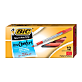 BIC® Round Stic Grip™ Xtra-Comfort Ballpoint Pens, Medium Point, 1.2 mm, Gray Barrel, Red Ink, Pack Of 12 Pens