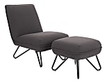 Ave Six Cortina Chair With Ottoman, Black/Gray