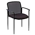 "Lorell® Mesh Seat, Mesh Back Stacking Chair, 18 1/2"" Seat Width, Black Seat/Black Frame, Quantity: 1"