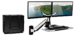 """Mount-It! MI-7906 Sit-Stand Dual-Monitor Wall-Mount Workstation With Articulating Keyboard Tray Arm And CPU Holder, 23""""H x 36""""W x 7-1/2""""D, Silver"""