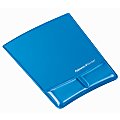 """Fellowes® Mouse Pad and Health-V Gel Palm Support, Microban Protection, 0.88"""" H x 8.25""""W  x 9.88"""" D, Blue"""