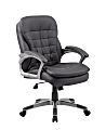 Boss Office Products Pillow-Top Vinyl Mid-Back Chair, Black/Silver
