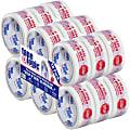 "Tape Logic® Stop If Seal Is Broken Preprinted Carton-Sealing Tape, 3"" Core, 2"" x 55 Yd., Red/White, Case Of 18"