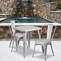 """Flash Furniture Square Metal Indoor-Outdoor Table Set With 2 Stack Chairs, 29""""H x 27-3/4""""W x 27-3/4""""D, Silver"""