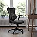 Flash Furniture Designer Ergonomic Mesh/LeatherSoft™ High-Back Chair, Black