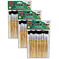 Charles Leonard Easel Paint Brushes, Flat Tip, Natural Handle, 12 Brushes Per Pack, Case Of 3 Packs