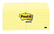 """Post-it® Notes, Lined, 3"""" x 3"""", Canary Yellow, Pack Of 12 Pads"""