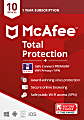 McAfee Total Protection w VPN, 10 Devices, Antivirus Internet Security Software, 1Yr – Product Key
