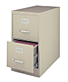 """WorkPro® 26-1/2""""D Vertical 2-Drawer Letter-Size File Cabinet, Metal, Putty"""