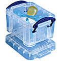 """Really Useful Box® Plastic Storage Container With Built-In Handles And Snap Lid, 0.14 Liter, 3 1/4"""" x 2 1/2"""" x 2"""", Clear"""