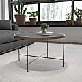 "Flash Furniture Glass Coffee Table, 17-1/2""H x 29-1/2""W x 29-1/2""D, Black/Matte Gold"