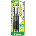 Pilot® BeGreen RexGrip 77% Recycled Retractable Ballpoint Pens, 1.0 mm, Medium Point, Black Barrel, Black Ink, Pack Of 3