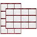 """SwiftGlimpse 2-Sided Yearly Erasable Wall Calendar, 24"""" x 36"""", Maroon, January to December 2022, SG MAR 24"""