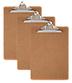 """Office Depot® Brand Wood Clipboards, 9""""x 12-1/2"""", 100% Recycled Wood, Pack Of 3"""