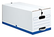 """Office Depot® Brand Quick Set Up Standard-Duty Storage Boxes With String & Button Closures And Built-In Handles, Letter Size, 24"""" x 12"""" x 10"""", 60% Recycled, White/Blue, Case Of 12"""