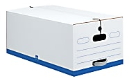 """Office Depot® Brand Quick Set Up Standard-Duty Storage Boxes With String & Button Closures And Built-In Handles, Legal Size, 24"""" x 15"""" x 10"""", 60% Recycled, White/Blue, Case Of 12"""
