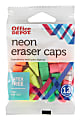 Office Depot® Brand Neon Eraser Caps, Assorted Colors, Pack Of 12
