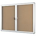 "MasterVision™ Anodized Aluminum Frame Enclosed Cork Bulletin Board, 2 Doors, 36"" x 48"""