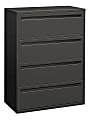 """HON® Brigade® 700 36""""W Lateral 4-Drawer File Cabinet, Metal, Charcoal"""