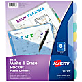 """Avery® Write & Erase Plastic Dividers With Pocket, 8 1/2"""" x 11"""", Multicolor, 8-Tab Set"""