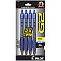 Pilot® G-2™ Retractable Gel Pens, Bold Point, 1.0 mm, Clear Barrels, Blue Ink, Pack Of 4