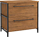 "Sauder® Iron City 31""W Lateral File Cabinet, Checked Oak"
