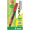 Pilot® V-Ball™ BeGreen 82% Recycled Liquid Ink Rollerball Pens, Extra Fine Point, 0.5 mm, Red Barrel, Red Ink, Pack Of 12