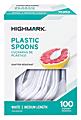 Highmark® Medium-Length Plastic Cutlery, Spoons, Pack Of 100 Spoons