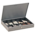STEELMASTER® Low Profile Cash Box, 10 Compartments, Gray