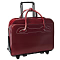 McKlein Willow Brook Leather Detachable-Wheeled Briefcase, Red