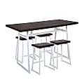 LumiSource Geo Industrial Counter-Height Table With 4 Stools, Vintage White/Espresso
