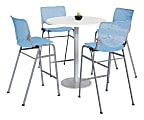 """KFI Studios KOOL Round Pedestal Table With 4 Stacking Chairs, 41""""H x 36""""D, Designer White/Sky Blue"""