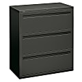"""HON® Brigade® 700 36""""W Lateral 3-Drawer File Cabinet, Metal, Charcoal"""