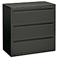 """HON® Brigade® 700 42""""W Lateral 3-Drawer File Cabinet, Metal, Charcoal"""