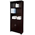 "Realspace® Magellan 72"" 5-Shelf Contemporary Bookcase with Doors, Espresso/Dark Finish"