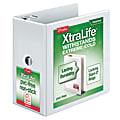 "Cardinal® XtraLife™ ClearVue™ Nonstick Locking Slant 3-Ring Binder, 6"" D-Rings, 55% Recycled, White"