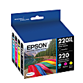 Epson® 220XL/220 DuraBrite® High-Yield Black And Standard-Yield Cyan/Magenta/Yellow Ink Cartridges, Pack Of 4, T220XL-BCS