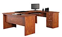 """Realspace® Broadstreet 65""""W U-Shaped Executive Desk, Maple"""